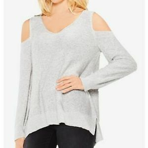 Vince Camuto Cold Shoulder Heathered Grey Sweater